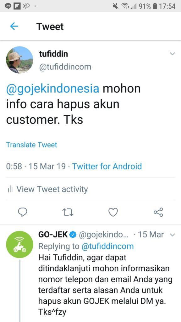Hapus akun gojek customer melalui twitter