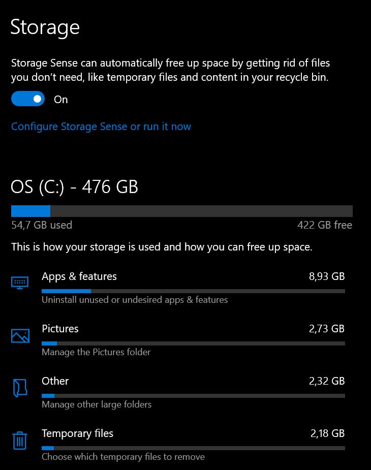 Menu Storage Pada Windows 10