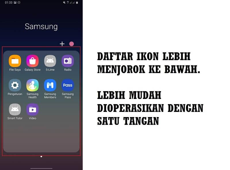 One UI 2 lebih mudah digunakan dengan satu tangan