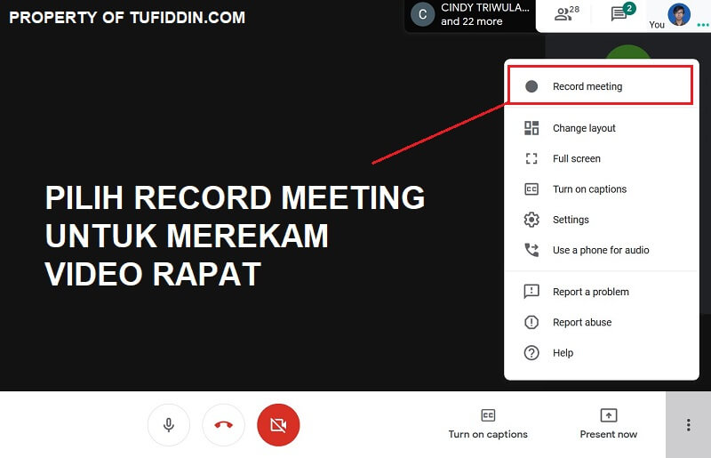 Cara merekam video rapat Google Meet