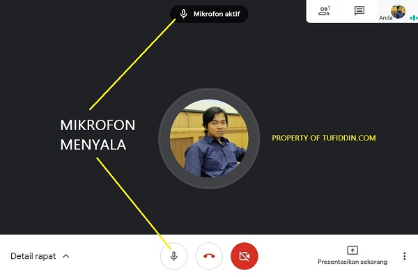 Menyalakan tombol mikrofon Google Meet