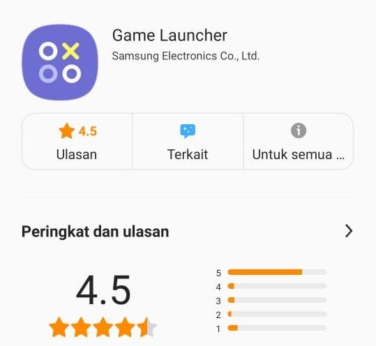 Tampilan Game Launcher Samsung terbaru